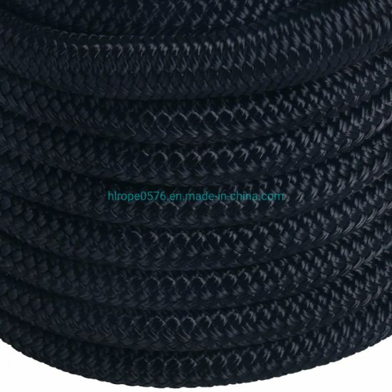 "Black 5/8"" 50 FT Double Braid Nylon Dock Line Mooring Rope Double Braided"