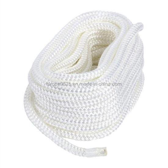 White Made 3/4 Inch 25 FT Double Braid Nylon Dockline Dock Line Mooring Rope Double Braided Dock Line