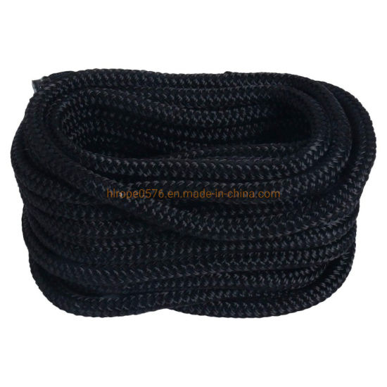 Black Made 3/4 Inch 25 FT Double Braid Nylon Dockline Dock Line Mooring Rope Double Braided Dock Line
