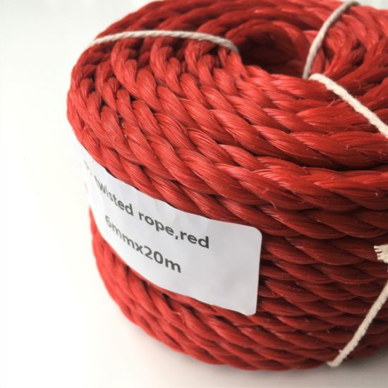 Red 6mmx20m Heavy Duty Twisted Polypropylene Rope Floating PP Rope Boat Rope Sailing Camping Secure Line Clothes Line